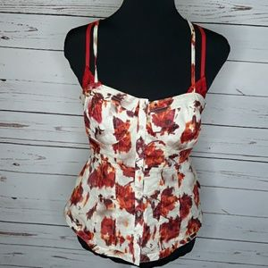 LC   Retro Shapely Floral Button up Strappy top